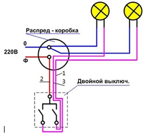 Электрическая схема с лампочкой выключателем и розеткой