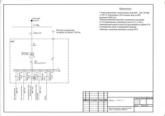 Однолинейная схема жилого дома на вводе